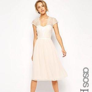 Asos Petite Scalloped Lace Midi Dress